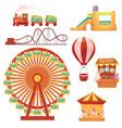 amusement park set cartoon vector image