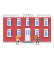 boy and girl with backpacks running into school vector image