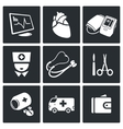 Emergency Medicine Icons Set vector image