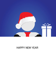 happy new year with snowman blue vector image