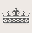 queen crown grey silhouette with sharp spires on vector image