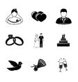 Set of wedding icons - cake flowers dove vector image