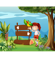 A parrot and a girl beside a signboard in the vector image vector image