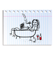 funny picture on the notebook sheet in line vector image