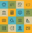 set of 16 school icons includes taped book vector image
