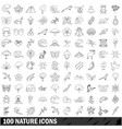 100 nature icons set outline style vector image vector image