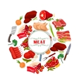 Butcher shop meat or butchery poster vector image