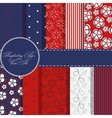 set of beaautiful red and blue paper for scrapbook vector image