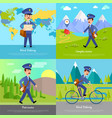 world delivery banner postman mailman on bicycle vector image