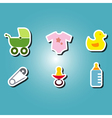 olor icons with baby stuff vector image