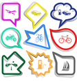 airliner car car fueling motorcycle bicycle road vector image