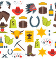 cartoon cowboy seamless pattern background vector image