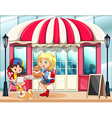 Children hanging out at the cafe vector image