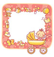 frame with baby-girl things vector image