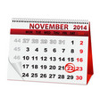 holiday calendar for Thanksgiving Day vector image