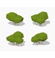 Low poly green bush vector image