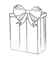 Sketch draw christmas gift cartoon vector image