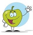 Waving Green Apple Character vector image
