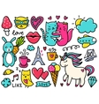 Doodles cute elements vector image