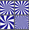 Blue white spiral and ray burst background set vector image