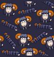 seamless pattern square cartoon black sheep vector image