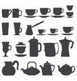 Cups And Pots silhouette set vector image