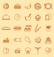Food line icons on yellow background vector image