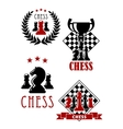 Chess game icons and emblems vector image vector image