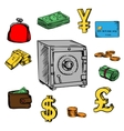 Finance business and banking sketched icons vector image vector image