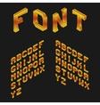 Amber Isometric Latin Alphabet 3D Geometric Font vector image