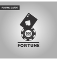 black and white style Fortune chip card vector image