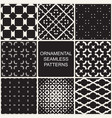 collection of dark ornamental seamless patterns vector image