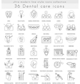 Dental care ultra modern outline line icons vector image