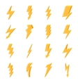 Set of yellow lightning icons vector image