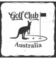 Golf club concept with kangaroo silhouette vector image