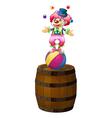 A clown juggling above the barrel vector image vector image