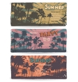 set of Vintage summer banners with palm trees vector image