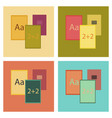 assembly flat icons school notebooks vector image