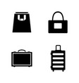 bag and suitcase simple related icons vector image