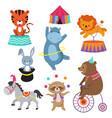 cartoon circus animals for child birthday card vector image
