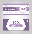 Cute purple gift voucher template layout set vector image