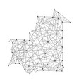 map of mauritania from polygonal black lines vector image