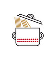 Saucepan with spaghetti vector image