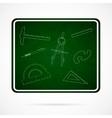 School Elements on Green Chalkboard vector image
