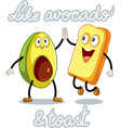 avocado and toast funny characters vector image vector image