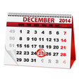 holiday calendar for Christmas vector image vector image