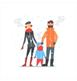 Family Outside In Winter vector image