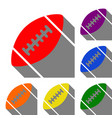 american simple football ball set of red orange vector image