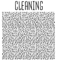 Hand drawn cleaning tools seamless pattern vector image