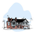 hand drawn english house townhouse urban sketch vector image
